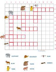 Grille de mots croisés sur les animaux grille 6