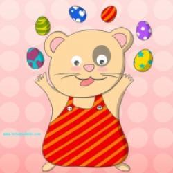 Ours jonglant avec des oeufs de Pâques