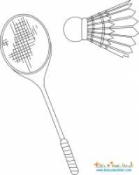 Badminton : coloriage d'une raquette et volant de badminton