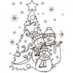 Coloriage 3 bonshommes de neige et du sapin