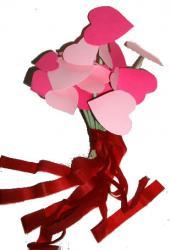 Bouquet de coeurs rouges et roses