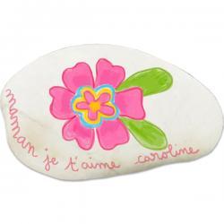Presse-papiers caillou fleur pour maman