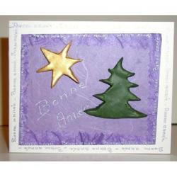 Carte décorée d'un sapin et d'une étoile en pâte à sel