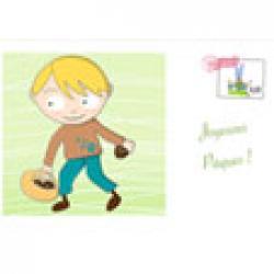 Carte de Pâques : Garçon cherchant ses oeufs