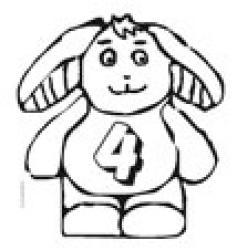 Coloriage du lapin portant le chiffre 4