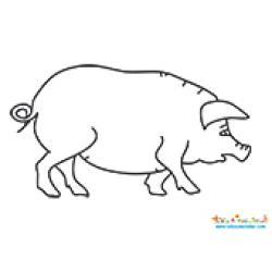 Coloriage du dessin d'un cochon, un coloriage de cochon à imprimer et à colorier pour jouer sur le thème de la ferme