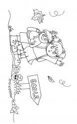 Coloriages d'enfants le jour de la rentrée