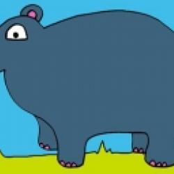 Coloriage d'hippopotame avec couleur