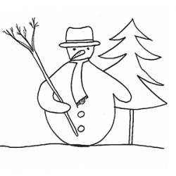Coloriage d'un bonhomme de neige classique