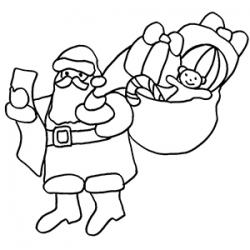Voici le Père Noël et sa grande hotte remplie de mille merveilles ! Sa hotte est vraiment pleine de cadeaux, une vraie corne d'abondance !