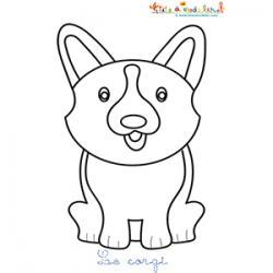 Coloriage d'un corgi, le petit chien anglais