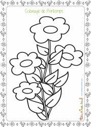 Un coloriage sur le printemps à imprimer pour jouer avec la saison : coloriage d'un brin de fleurs et de son petit cadre composé de fleurs et de petits oiseaux.