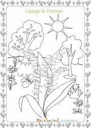 Un coloriage sur le printemps à colorier - ce dessin représente une petite scène du printemps avec un brin de muguet au premier plan.