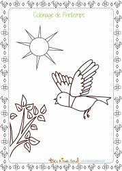 Un coloriage de printemps : prends tes feutres ou tes crayons de couleur et amuse-toi à colorier ce dessin d'un petit oiseau au printemps.