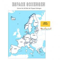 Colorier la carte de l'espace Schengen
