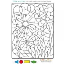 4 fleurs coloriage géométrique