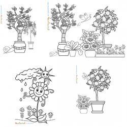 Coloriages de jardins et scène de jardin