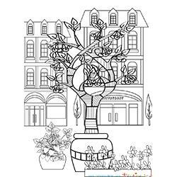 Coloriage d'un jardin de ville, art thérapie