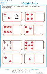 Imprimer l'exercice 1 pour compter les formes sur des dominos Maternelle GS