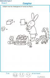 Imprimer la fiche pour compter les champignons et fleurs maternelle niveau 3