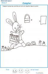 Imprimer la fiche pour compter les carottes du lapin maternelle niveau 3