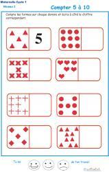 Exercice 2 pour compter les formes sur des dominos Maternelle GS