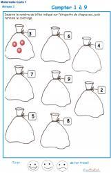 Imprimer la fiche pour dessiner et compter les billes Exercice 1 maternelle niveau 3