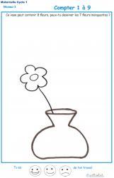 Imprimer la fiche pour compter les fleurs dans le vase Exercice 2 maternelle niveau 3