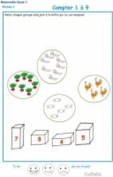 Exercices pour aider les enfants de maternelle à compter puis à associer les chiffres et les quantités