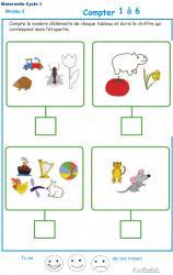 Imprimer l' Exercice 11 de l'ardoise pour apprendre à compter les animaux, légumes et objets divers