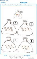Exercice 1 pour compter et colorier le bon nombre de billes