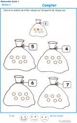 Exercice 3 pour compter et colorier le bon nombre de billes