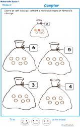 Exercice 4 pour compter et colorier le bon nombre de billes