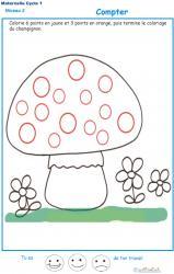 Exercice 3 pour compter et colorier le bon points sur le champignon 1