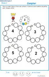 Exercice 2 pour compter et colorier les perles du collier de Nana