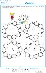 Exercice 6 pour compter et colorier les perles du collier de Nana