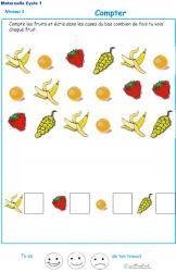 Imprimer l'Exercice 2 pour apprendre à compter maternelle niveau 3