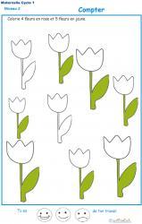 Exercice 2 pour colorier le nombre de fleurs indiqué par la consigne