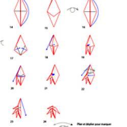 étapes de pliage feuille 5 lobes