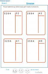 Divisions à deux chiffres - division euclidienne exercice 1