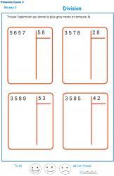 Divisions à deux chiffres - division euclidienne exercice 3