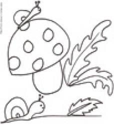 Coloriage des escargots au champignon
