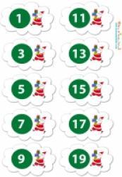 Planches d'étiquettes du calendrier de l'avent - père Noël