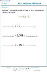 Nombres décimaux Exercice 4 CM1 - CM2