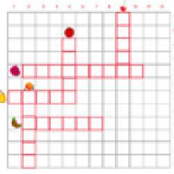 grille 1 de mots croisés sur les fruits primaire cycle 2