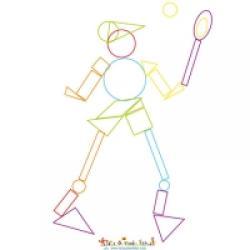 formes geometriques joueur de tennis