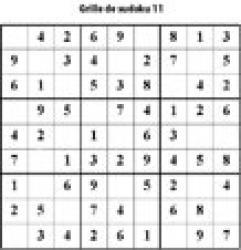 Grille 11 de sudoku Primaire cycle 3