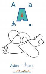Apprendre le A et colorier l'avion