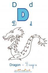 Apprendre le D et colorier le dragon