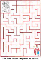 Imprimer le jeu de labyrinthe de saint Nicolas et les enfants